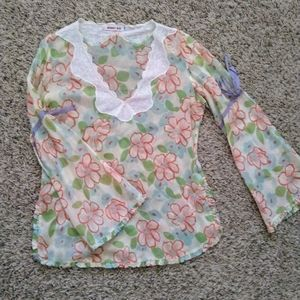 Johnny Was v neck bell sleeve floral blouse